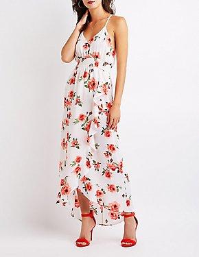 Floral Smocked Wrap Dress
