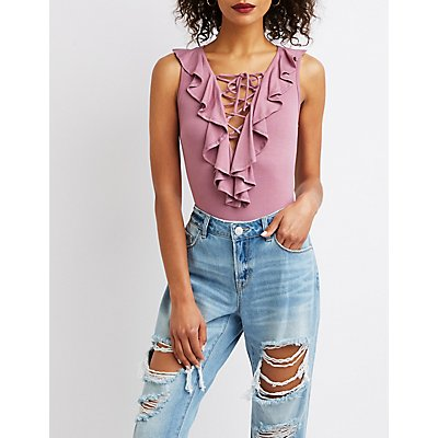 Ruffle Lace-Up Bodysuit