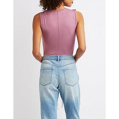 Ruffle Lace-Up Bodysuit