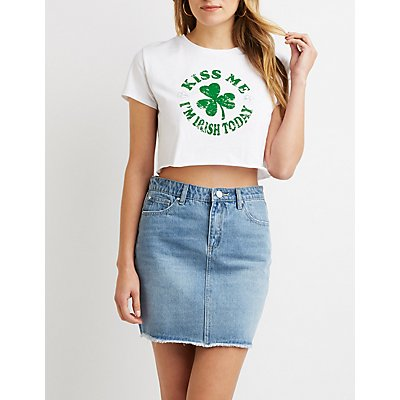 Kiss Me I'm Irish Today Cropped Top