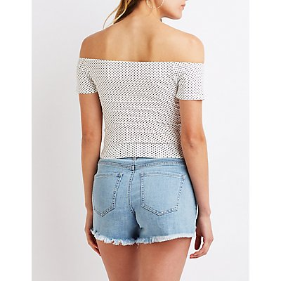 Lace Up Off The Shoulder Crop Top