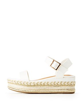 Bamboo Faux Leather Metallic Platform Two-Piece Sandals