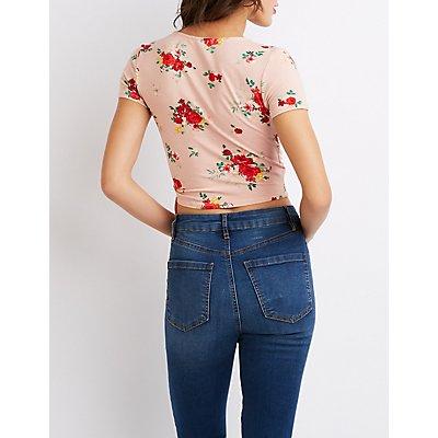 Floral Surplice Tie Crop Top