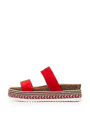 Bamboo Two Band Slide Platform Embellished Sandals