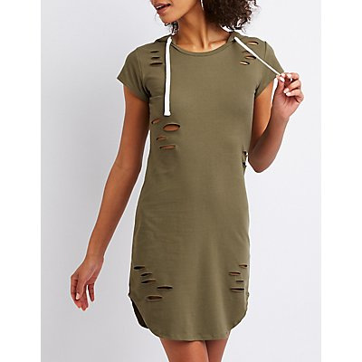 Destroyed Hooded Bodycon Dress