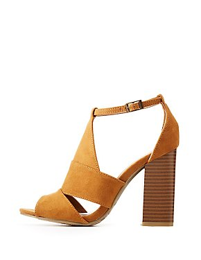Bamboo Faux Suede Peep Toe Sandals