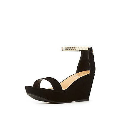 Bamboo Ankle Strap Wedge Sandal