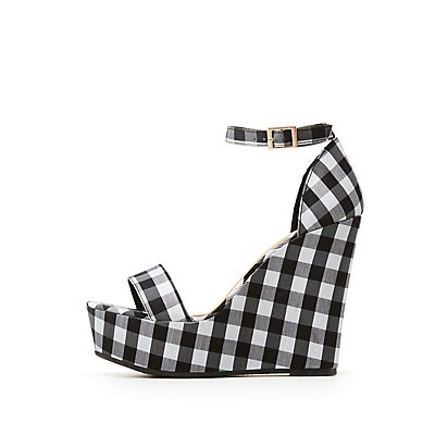 Bamboo Gingham Ankle Strap Wedge Sandal