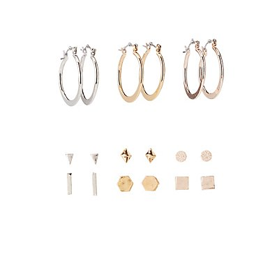 Geometric Stud & Hoop Earrings - 9 Pack