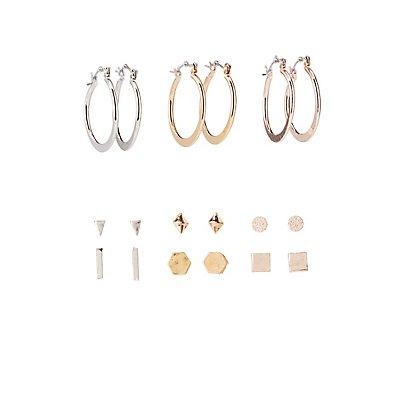 Geometric Stud & Hoop Earrings - 9 Pack