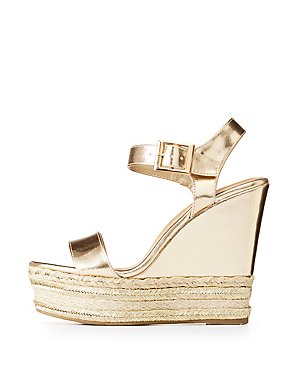 Bamboo Metallic Espadrille Wedges