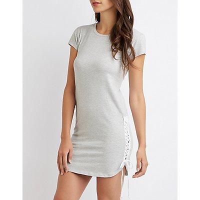 Lace Up T-Shirt Dress
