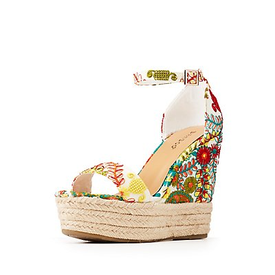 Bamboo Floral Espadrille Wedge Sandals
