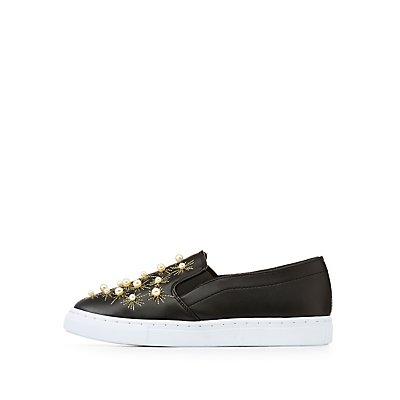 Qupid Pearl Slip On Sneakers