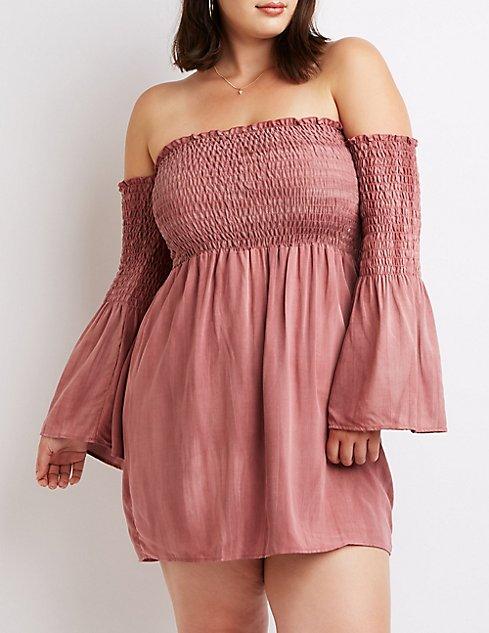 Plus Size Off The Shoulder Smocked Dress Charlotte Russe