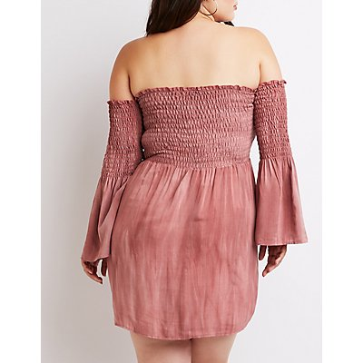 Plus Size Off-The-Shoulder Smocked Dress