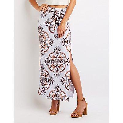 Paisley Wrap Tie Maxi Skirt