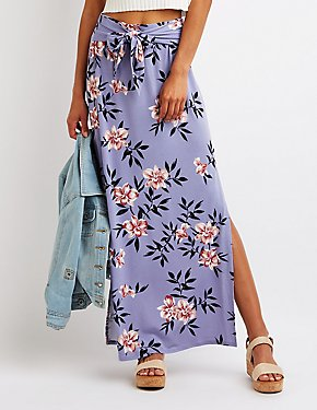 Floral Wrap Tie Maxi Skirt
