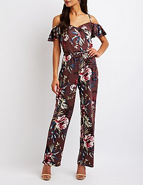 Floral Cold Shoulder Jumpsuit