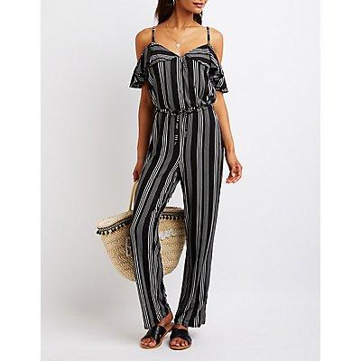 Striped Cold Shoulder Jumpsuit