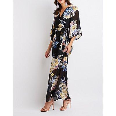 Floral Kimono Sleeve Surplice Maxi Dress