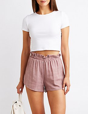 Crochet Trim Ruffle Shorts