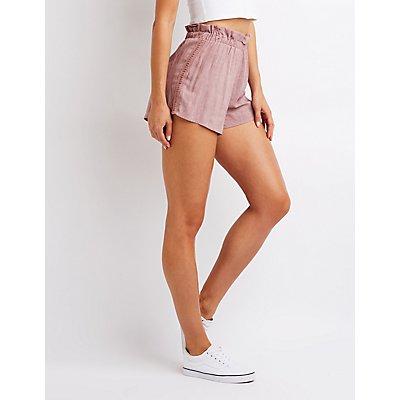 Crochet Trim Ruffle Shorts
