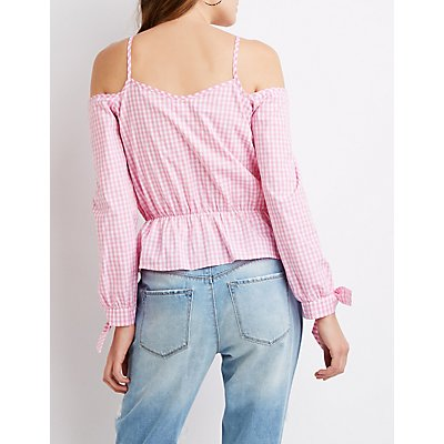 Plaid Cold Shoulder Top