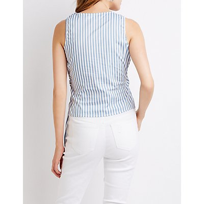 Striped Tie-Front Wrap Top