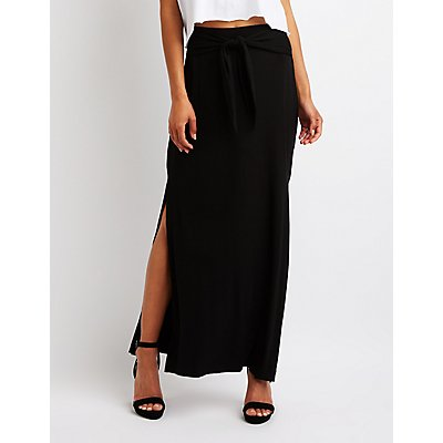 Tie Front Maxi Skirt by Charlotte Russe