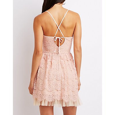 Eyelash Lace Tie-Back Skater Dress
