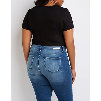 Plus Size Ribbed Hook-And-Eye Scoop Neck Bodysuit