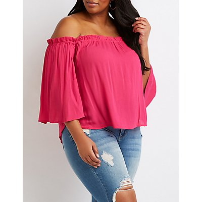 Plus Size Ruffled-Trimmed Off-The-Shoulder Top