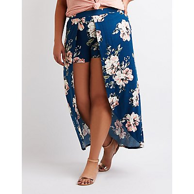 Plus Size Floral Layered Maxi Shorts
