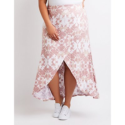 Plus Size Tie Dye Wrap Maxi Skirt