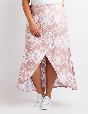 Plus Size Tie Dye Wrap Maxi Skirt