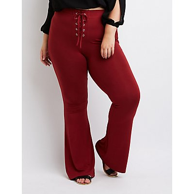 Plus Size Lace-Up Flare Pants