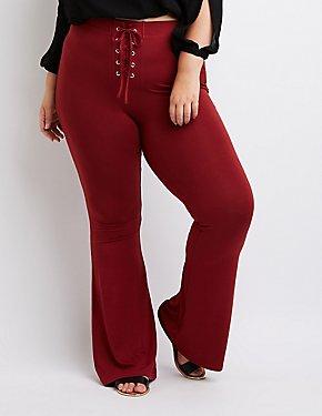 Plus Size Lace-Up Flare Pants
