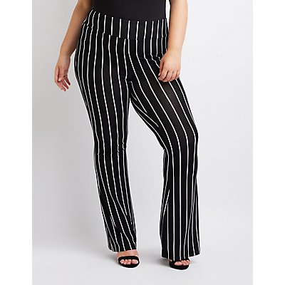 Plus Size Stripe Flare Pants