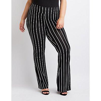 Plus Size Stripe Flare Pants