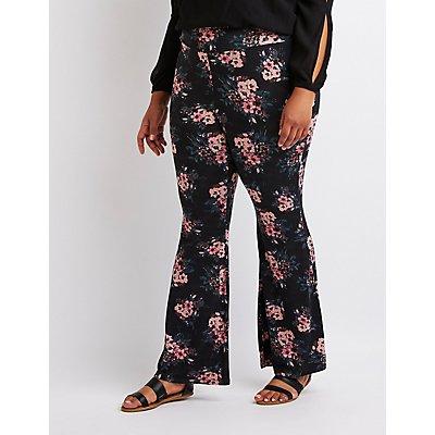 Plus Size Floral Flare Pants