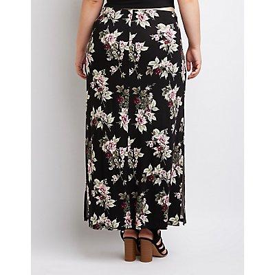Plus Size Floral Side-Slit Maxi Skirt