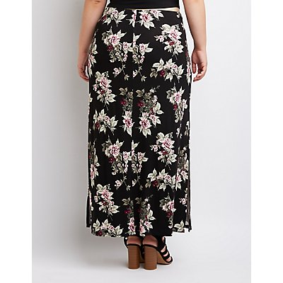Plus Size Floral Side-Slit Maxi Skirt