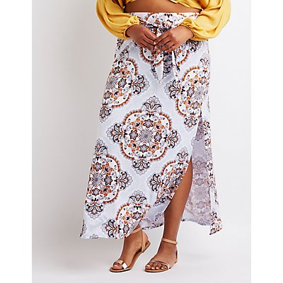 Floral Tie Front Maxi Skirt