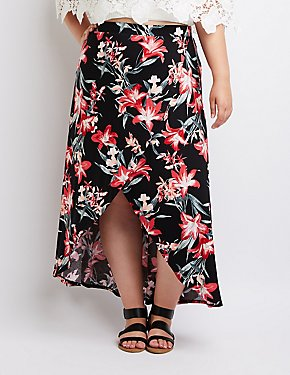 Plus Size Floral Surplice Maxi Skirt