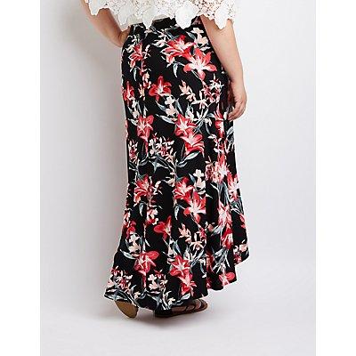 Plus Size Floral Surplice Maxi Skirt