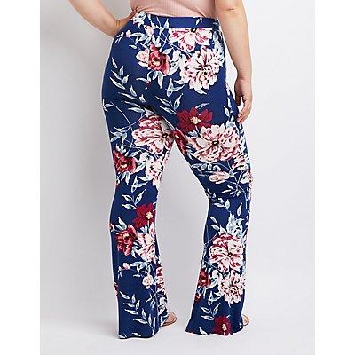 Plus Size Floral Lace-Up Flare Pants