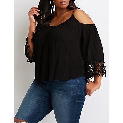 Plus Size Crochet-Trimmed Cold-Shoulder Top