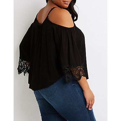Plus Size Crochet-Trimmed Cold-Shoulder Top