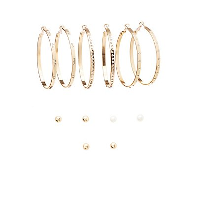 Embellished Stud & Crystal Earrings - 6 Pack